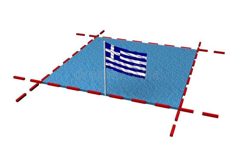 Teilmeer mit Grenzen und Flagge von Griechenland lizenzfreie abbildung