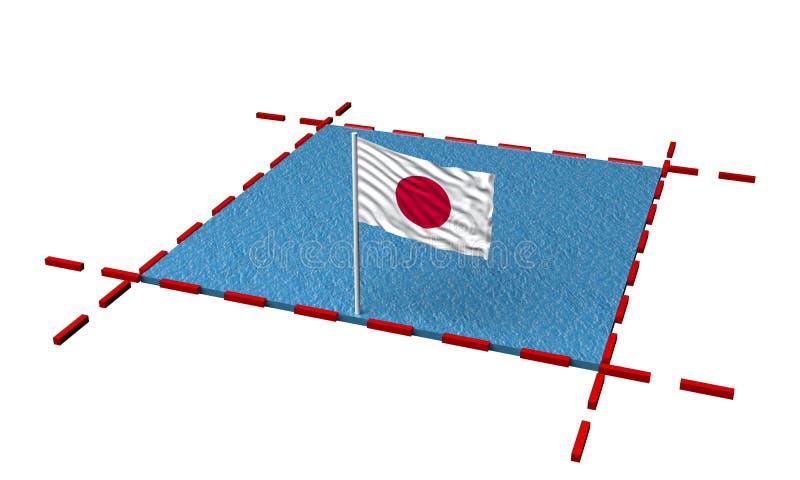 Teilmeer mit Grenzen und Flagge von Japan stock abbildung