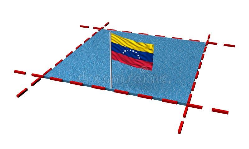 Teilmeer mit Grenzen und Flagge von Venezuela vektor abbildung
