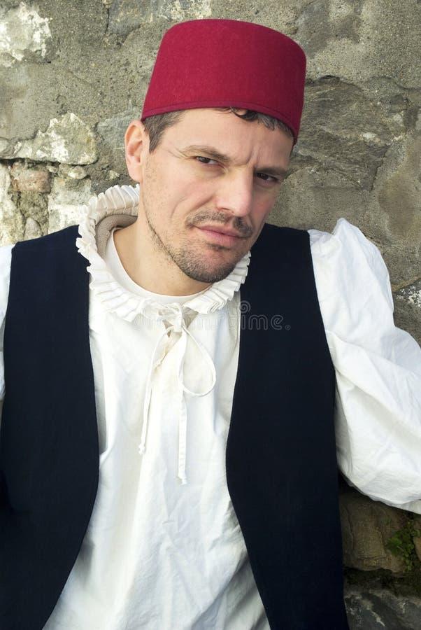 Teilnehmer der mittelalterlichen Kostümpartei lizenzfreie stockfotos