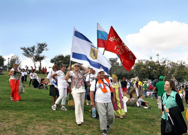 Teilnehmer der Prozession der evangelischen Christen in Jeru lizenzfreies stockbild