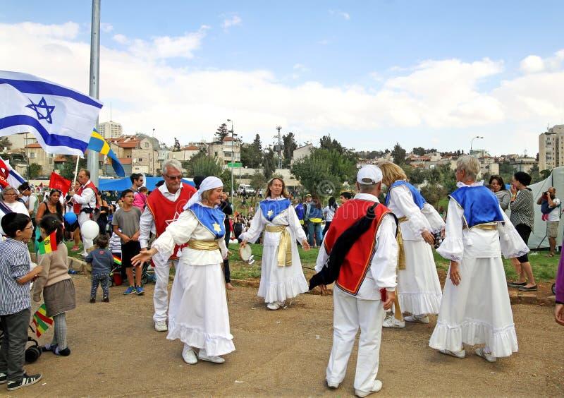 Teilnehmer der Prozession der evangelischen Christen in Jeru lizenzfreie stockfotos