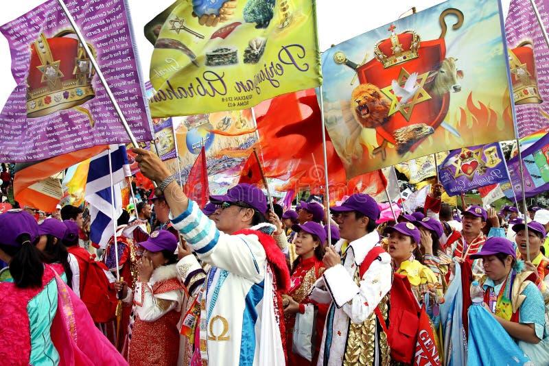 Teilnehmer der Prozession der evangelischen Christen in Jeru lizenzfreies stockfoto