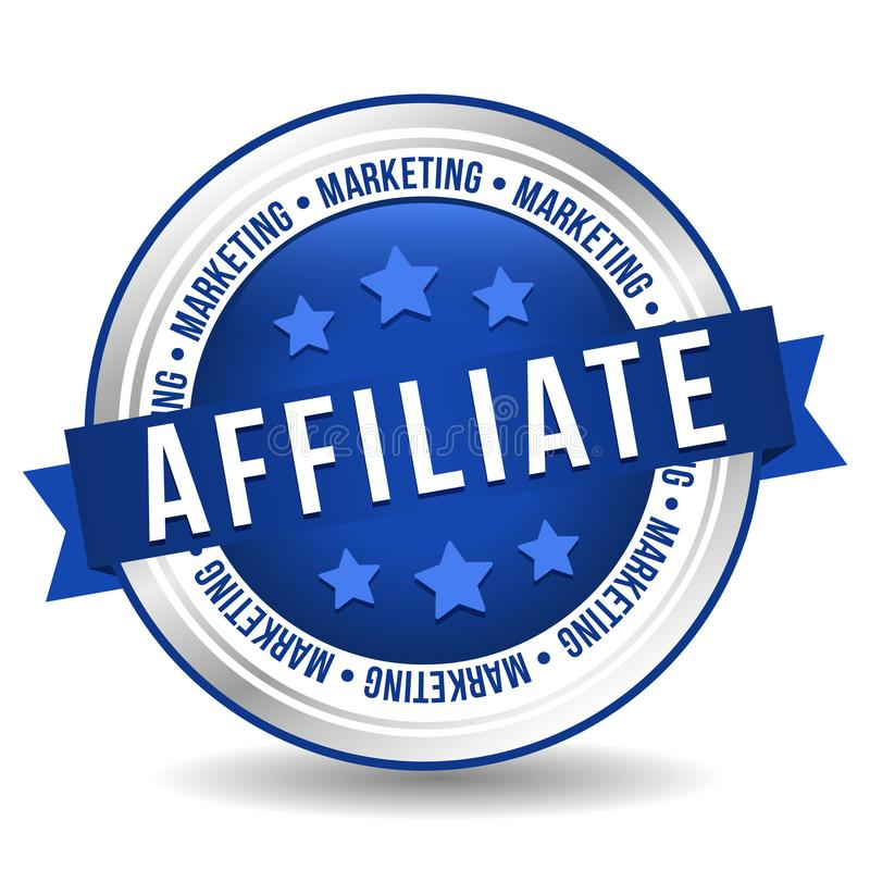 Teilnehmer-Marketing-Ausweis - on-line-Knopf - Fahne mit Band lizenzfreie abbildung