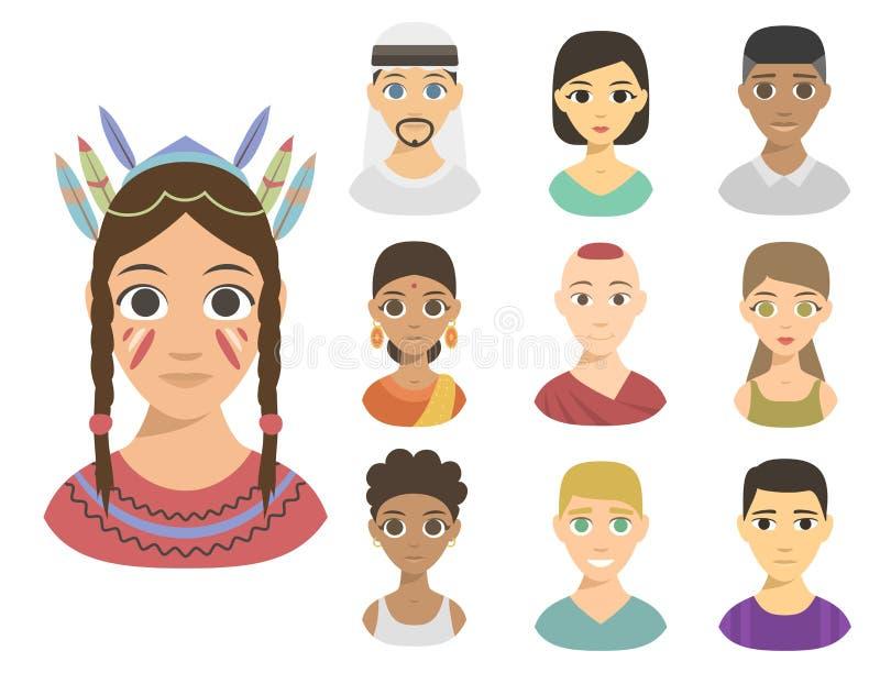 Teint différent d'avatars de nations de personnes d'appartenance ethnique différente fraîche de portraits illustration libre de droits