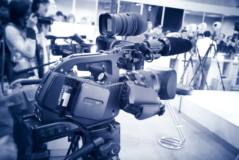 Teinte de bleu de caméra vidéo photographie stock libre de droits