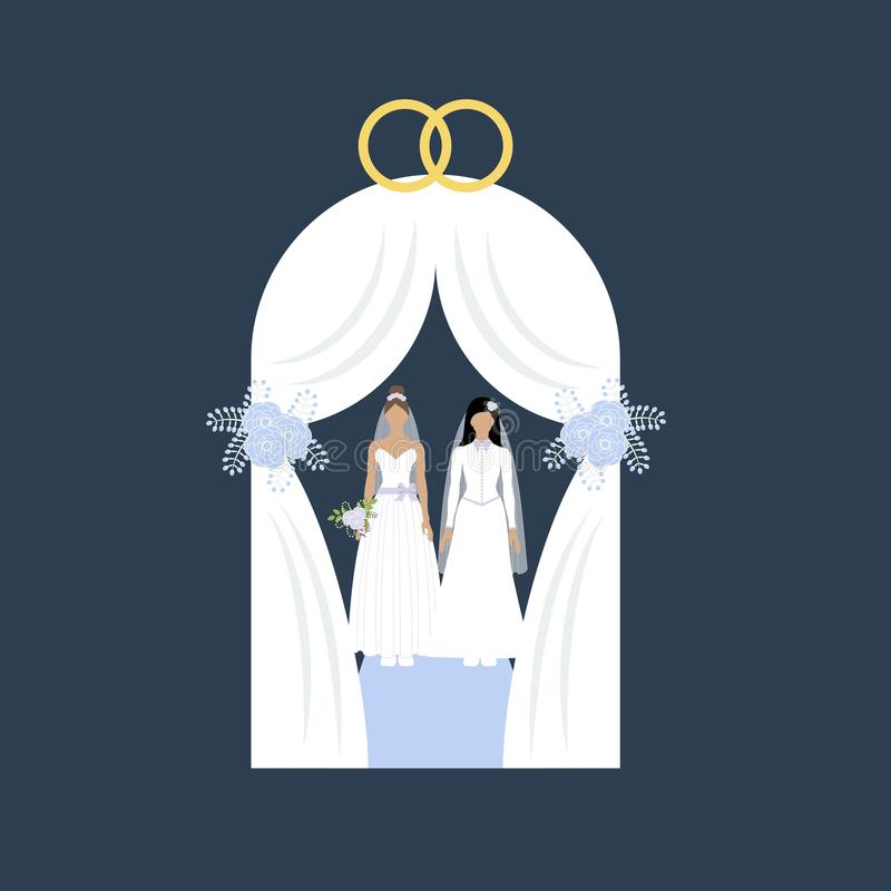 Tej samej płci ślub royalty ilustracja