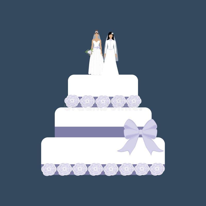 Tej samej płci ślubny tort ilustracja wektor