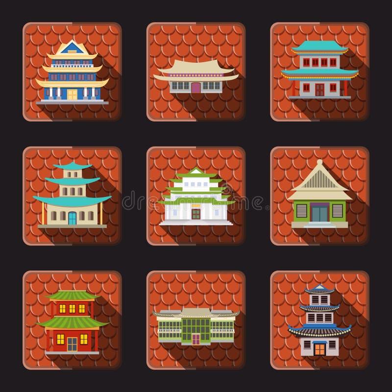 Teja china de los iconos de la casa libre illustration