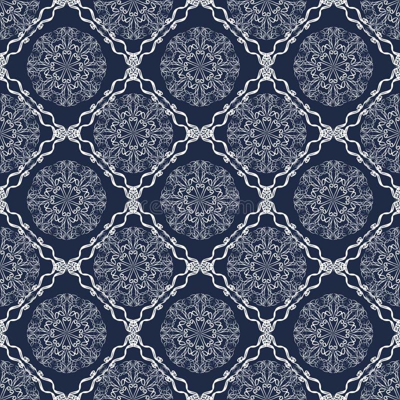 Teja del vintage, fondo azul marino modelado geométrico del vector, dibujo caligráfico blanco en estilo retro del victorian Orien stock de ilustración