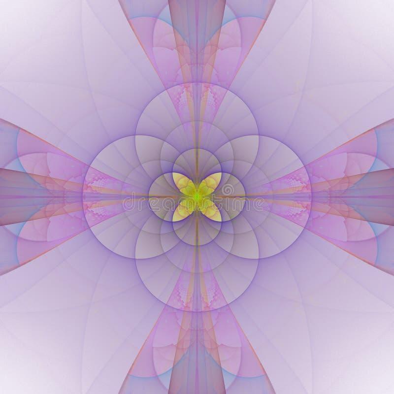 Teja floral violeta rosada abstracta con adorno central amarillo stock de ilustración