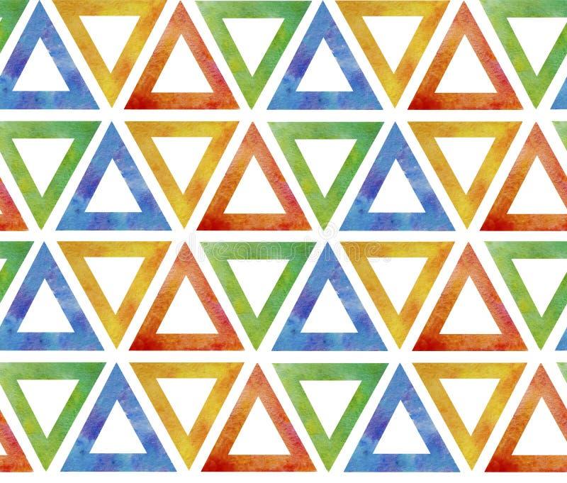 Teja inconsútil abstracta del modelo de triángulos amarillos verdes azules rojos multicolores en un fondo blanco Gusto ornamental stock de ilustración
