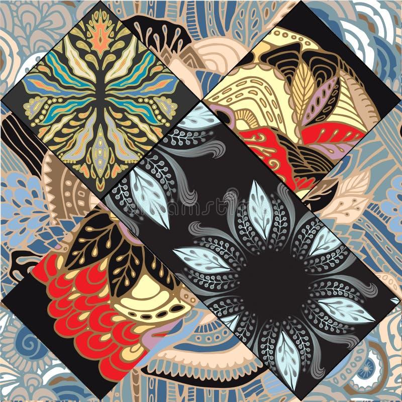 Teja inconsútil abstracta del patcwork con el ornamento floral árabe u o ilustración del vector