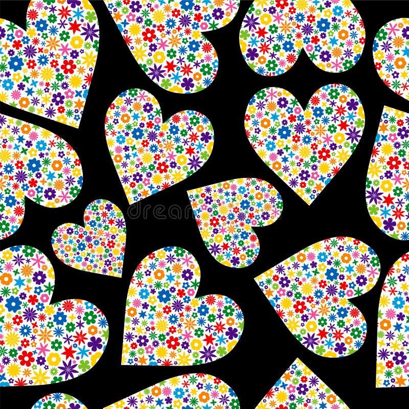 Teja inconsútil de corazones llenados flor fotos de archivo