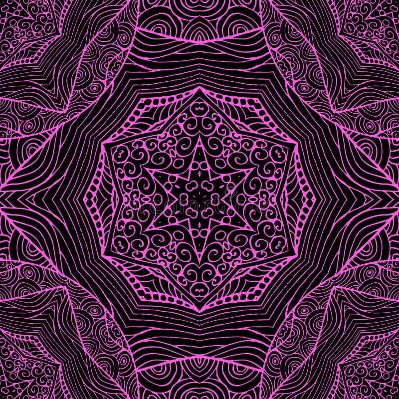 Teja inconsútil del estilo bohemio Fondo negro y ornamento rosado libre illustration