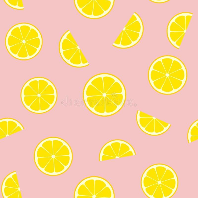 Teja inconsútil del modelo del vector de la limonada rosada stock de ilustración