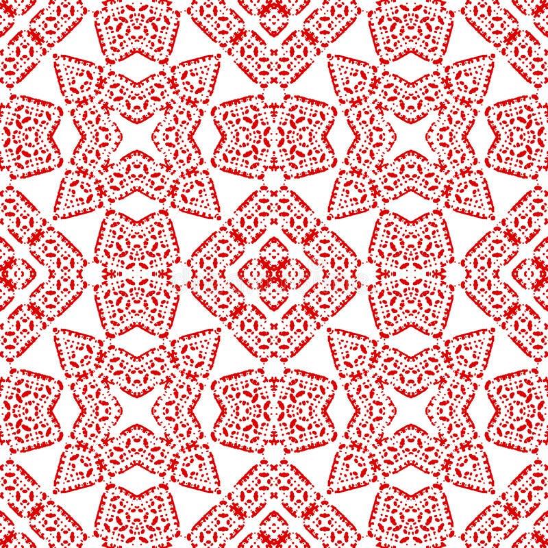 Teja marroquí - modelo inconsútil Modelo rojo complejo, fondo blanco stock de ilustración