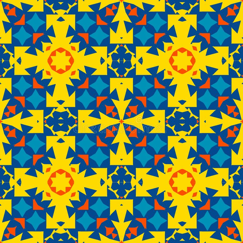 Teja marroquí - ornamento inconsútil Amarillo, naranja, elementos azules libre illustration