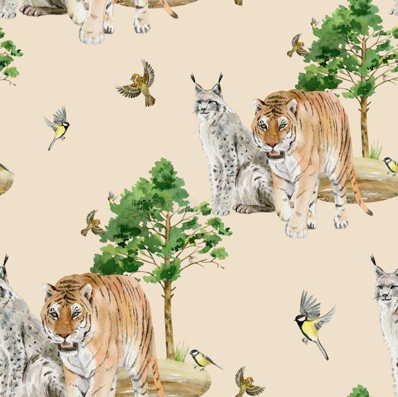 Teja repetida modelo inconsútil de los animales de la acuarela stock de ilustración