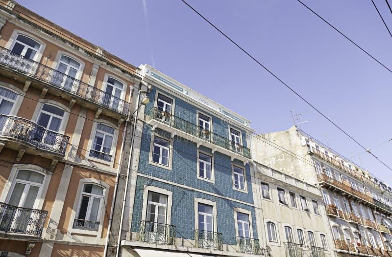 Teja típica de la fachada en Lisboa fotografía de archivo libre de regalías