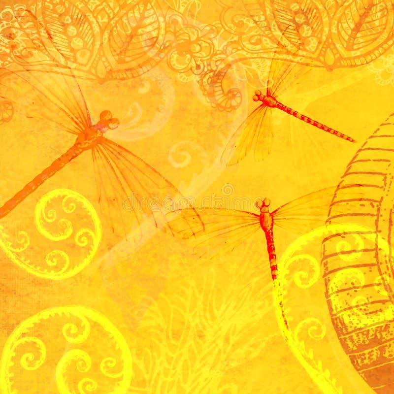 Teja translúcida del papel pintado del extracto de la capa de la libélula de la hoja amarilla amarillenta del Flourish libre illustration