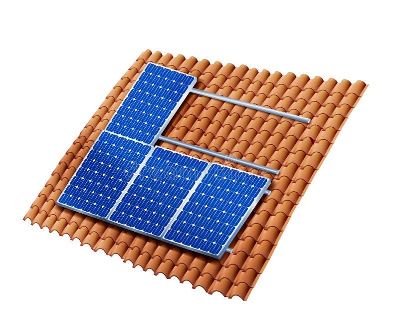 Tejado aislado que monta los paneles solares fotovoltaicos Instalación de los paneles solares ilustración 3D stock de ilustración