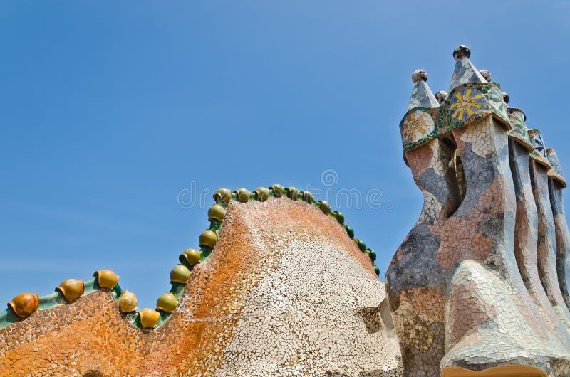 Tejado, casa Batlo de la creación-casa de Gaudi del housetop fotografía de archivo