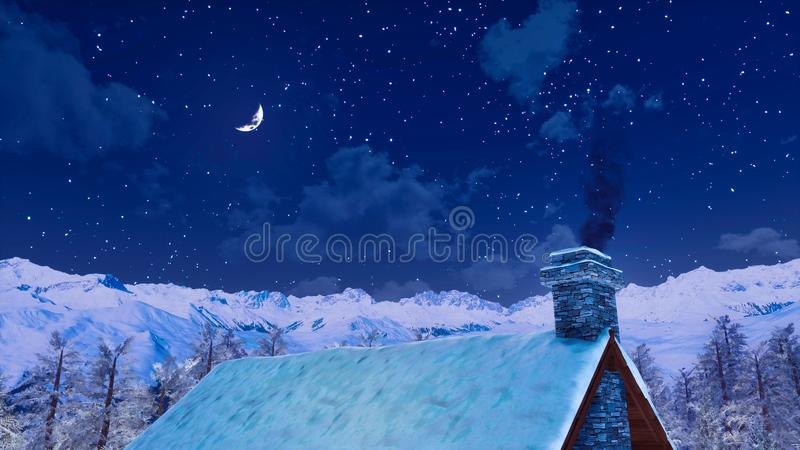 Tejado de la casa con la chimenea que fuma en la noche del invierno libre illustration