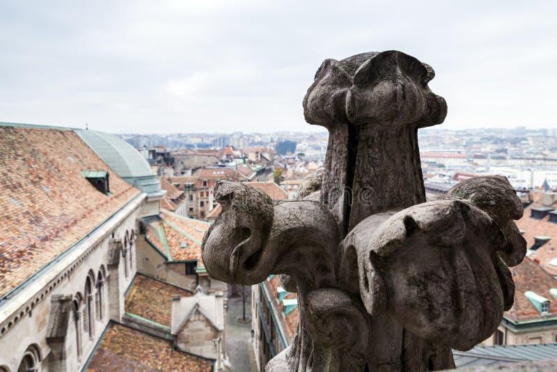 Tejado de St Peters Cathedral, Ginebra fotografía de archivo
