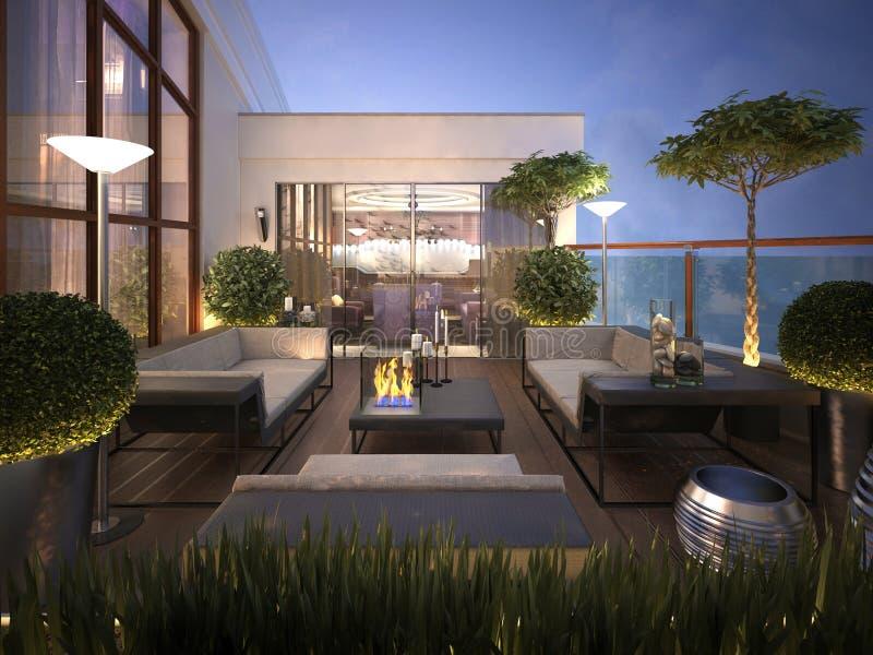 Tejado - terraza en un estilo moderno stock de ilustración