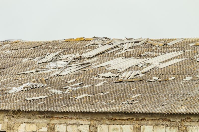 Tejado viejo del fibrocemento de un edificio agrícola dilapidado fotografía de archivo