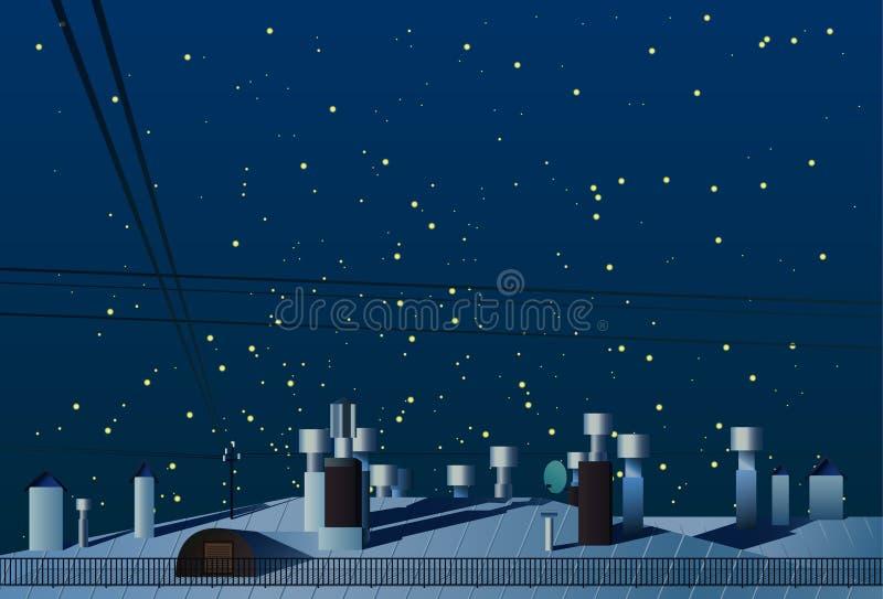 Tejados de casas con las chimeneas bajo vector del cielo nocturno stock de ilustración