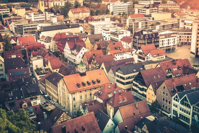 Tejados de Heidenheim una ciudad vieja de Brenz del der en la madrugada su fotografía de archivo libre de regalías