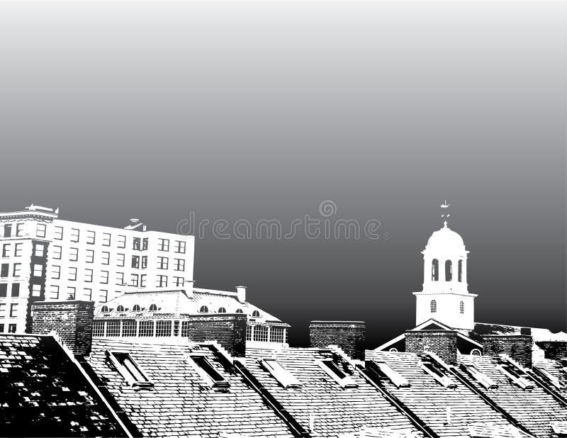 Tejados de la ciudad de Boston stock de ilustración