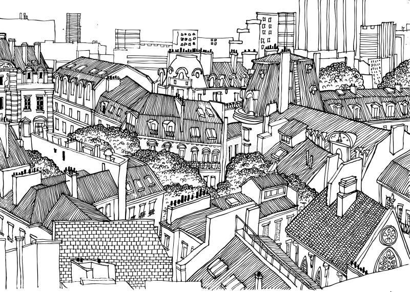 Tejados de París desde arriba Los gráficos lineares blancos y negros, perfeccionan para el fondo en la publicación, carteles, ban ilustración del vector