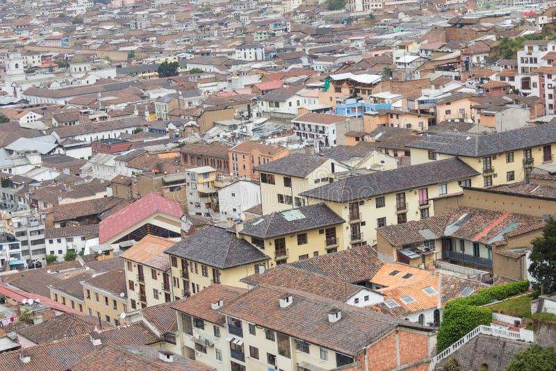 Tejados Quito Ecuador Suramérica de la visión aérea fotografía de archivo