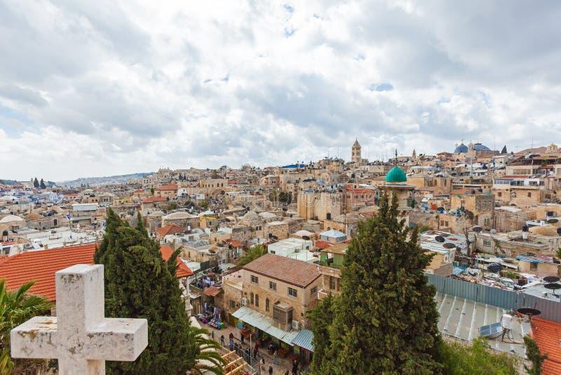 Tejados viejos de la ciudad de Jerusalén foto de archivo libre de regalías