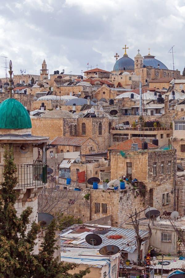 Tejados viejos de la ciudad de Jerusalén imagen de archivo