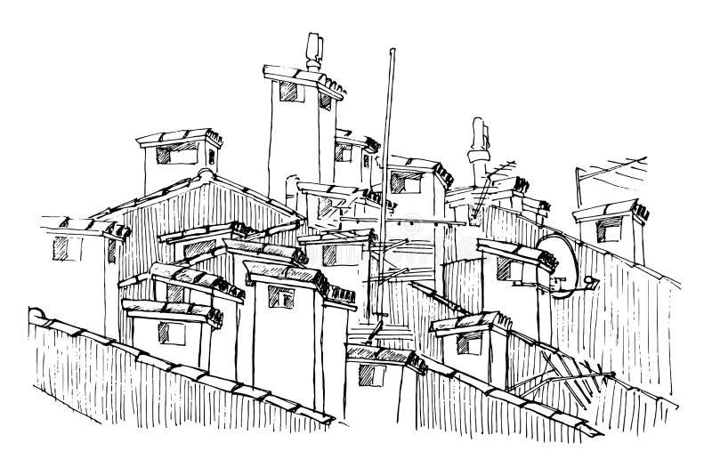Tejados y chimeneas stock de ilustración