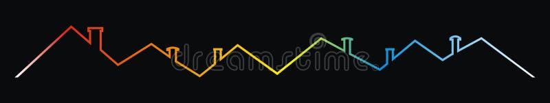 Tejados y chimeneas, dibujo multicolor del contorno, icono del vector libre illustration