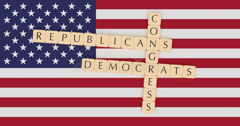 Tejas congreso, republicanos y Demócratas de la letra en el ejemplo de la bandera 3d de los E.E.U.U. ilustración del vector