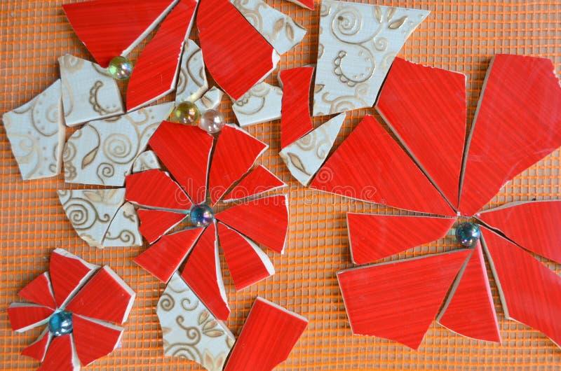 Tejas de mosaico con el palo fotografía de archivo libre de regalías