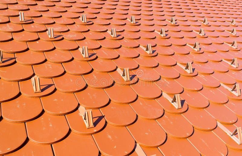 Tejas de tejado bajo la forma de cola del castor foto de archivo libre de regalías