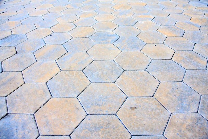 Tejas hexagonales del pavimento imágenes de archivo libres de regalías