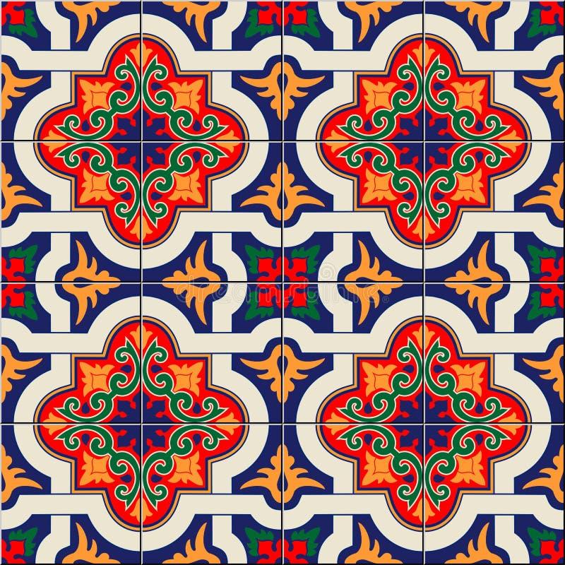 Tejas marroquíes del modelo inconsútil magnífico, portuguesas coloridas blancas, Azulejo, ornamentos Puede ser utilizado para el  ilustración del vector