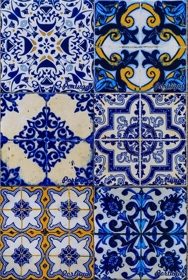Tejas portuguesas adornadas tradicionales del azulejo imagen de archivo