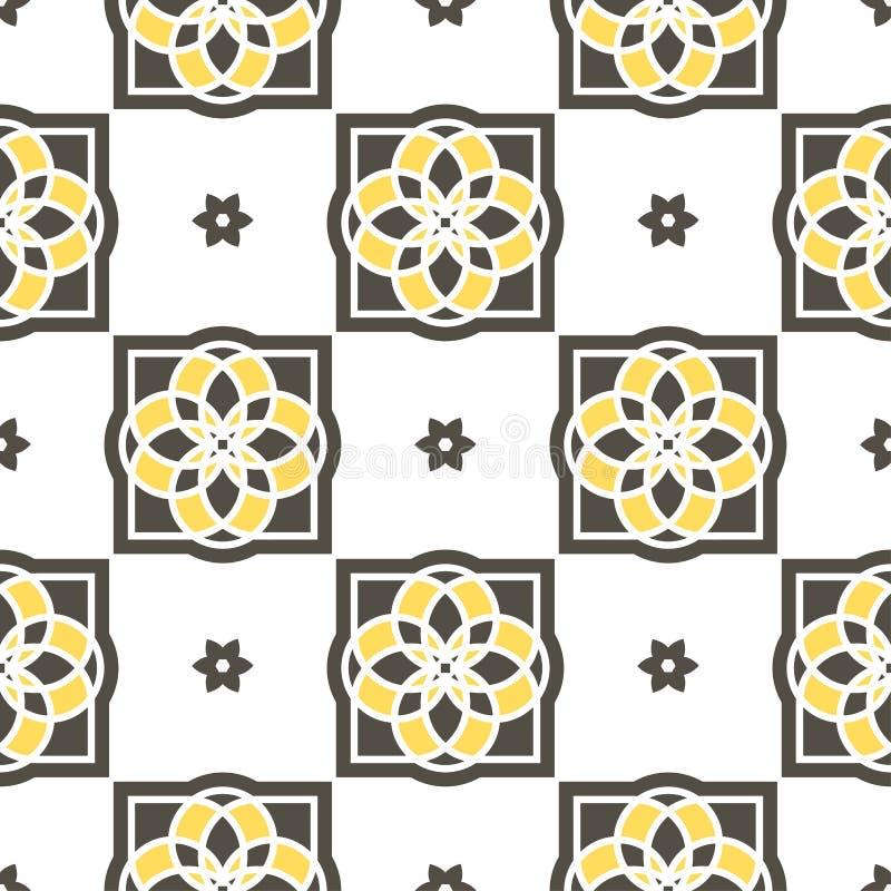 Tejas portuguesas del azulejo Modelos inconsútiles ilustración del vector