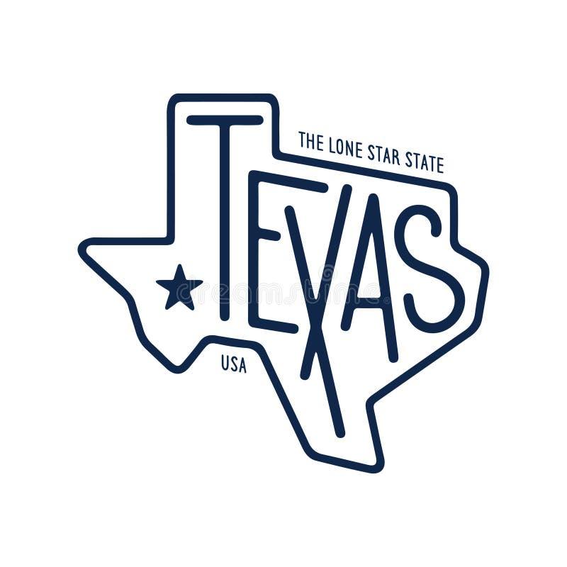 Tejas relacionó diseño de la camiseta el estado solitario de la estrella Ejemplo del vector del vintage libre illustration