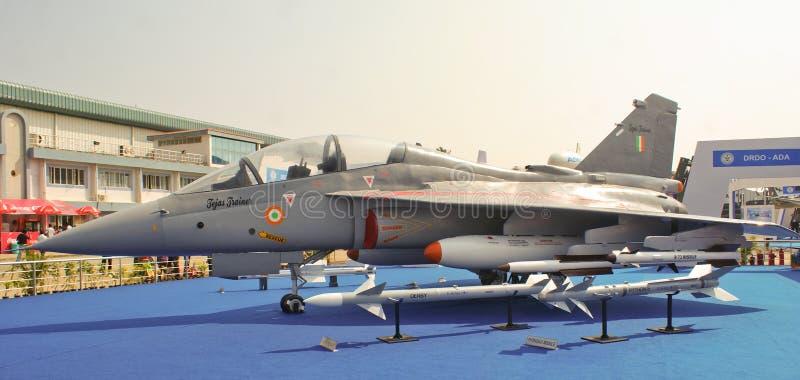 Tejas su esposizione alla manifestazione aerea 2013 dell'India a Bangal fotografia stock libera da diritti