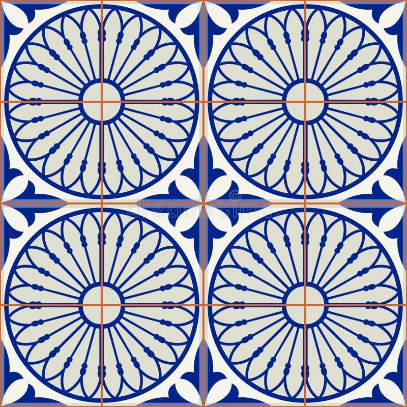 Tejas turcas del modelo inconsútil magnífico, marroquíes, portuguesas blancas, Azulejo, ornamento árabe Arte islámico stock de ilustración